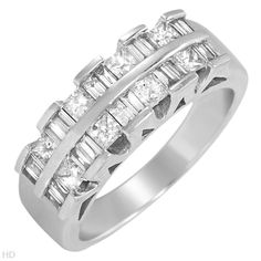 Terrific Brand New Ring With 1.00ctw Genuine Clean Diamonds Well Made in 14K White Gold. Total item weight 7.3g - Size 7 We Can Resize from 0 to 0 - Certificate