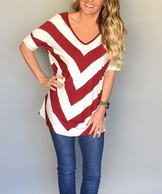 Coco and Main Wine & Ivory Stripe Dual-Front Tunic by Coco and Main #zulily #zulilyfinds