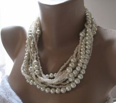 Handmadechunky layered ivory  pearlBold Bridal by galladesign, $65.00