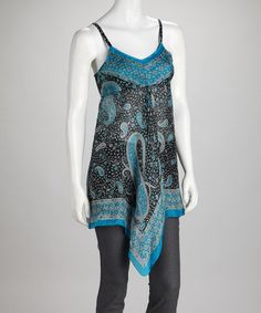 Take a look at this Blue Silk Kerchief-Hem Tunic by Papillon Imports on #zulily today!