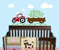 Alphabet Tractor Farm Boys ABC Kids Vinyl by ToodlesDecalStudio