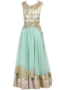 Powder blue laced detail anarkali set with jacket available only at Pernia's Pop-Up Shop.
