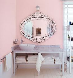 domino pink- perfect pink wall color (maybe Ben wouldn't mind in the hall bath? Haha!)