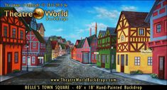 Belle's Town Square- This backdrop was put together with Beauty in mind, however it has found its way into many productions and events that need a classic European feel.