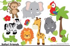 How cute are these little guys? This adorable set of happy Jungle Animals will brighten up any project in no time! This set includes 17 professionally made PNG cliparts (and vector files too) in my fun Natural color theme. Includes an elephant clipart, hippo clipart, zebra clipart, giraffe clipart, lion clipart, crocodile clipart, snake clipart, parrot clipart, and 2 monkey cliparts. Also includes a butterfly, snail, tree, vines, flower and 2 tropical leaves.