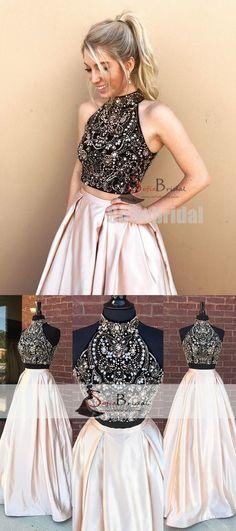 2 Pieces Rhinestone Beaded Top Satin Prom Dresses, Gorgeous Long Prom Dresses, PD0470 #promdresses