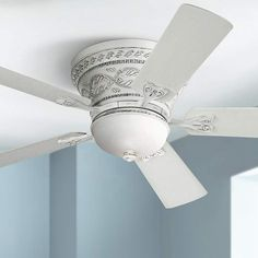 Casa Vieja Ancestry™ White Hugger Ceiling Fan antique look 5 blades with light Pink Bedroom Design, Pink Bedroom Decor, Bedroom Ideas, White Bedroom, Ceiling Fan Chandelier, White Ceiling Fan, Chandeliers, Pretty In Pink, Traditional Ceiling Fans