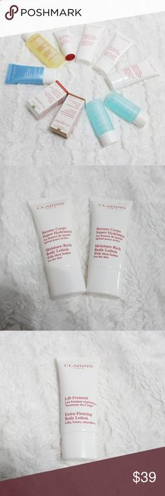 Brand New 10 pcs CLARINS Face & Body Deluxe Minis •10 pcs CLARINS Face & Body Deluxe Skincare Minis  - 2 Moisture-Rich Body Lotion with Shea Butter for Dry Skin - 1 Extra-Firming Body Lotion - 1Eye Revive Beauty Flash - 1 Toning Lotion with Chamomile, Alcohol-free for Normal or Dry Skin - 2 Instant Eye Make-up Remover for Waterproof & Heavy Make-up - 1 HydraQuench Cream for Normal to Dry Skin - 1 Blue Orchid Face Treatment Oil. 100% Pure Plant Extracts for Dehydrated Skin - 1 Extra-Firming…