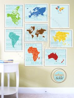 World Map Art for Nursery, Travel List and Continents, Set of Eight, 5X7 Inches, Playroom decor, Baby Gift, Nursery Decor. $38.00, via Etsy.