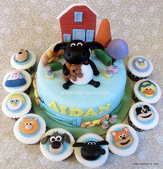 Timmy Time cake Farm Birthday Cakes, Birthday Cake Toppers, 3rd Birthday, Birthday Ideas, Fondant Cakes, Cupcake Cakes, Cupcakes, Shaun The Sheep Cake, Rocket Cake