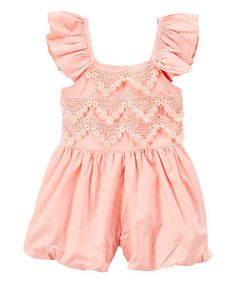 Look what I found on #zulily! Light Coral Angel-Sleeve Romper - Infant, Toddler & Girls #zulilyfinds