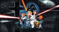 Put puzzle pieces together to see a picture of Family Guy Star Wars edition.