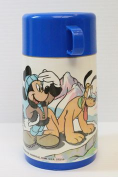 Mickey Mouse and Pluto Thermos, Vintage Aladdin Brand Thermos, Vintage Disney thermos, vintage blue thermos, vintage collectible, retro item