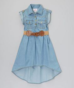 So in Love with this dress for my girls. Another great find on #zulily! Light Blue Belted Hi-Low Dress - Girls #zulilyfinds