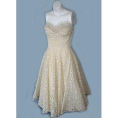 vintage 50's lace shelf bust tea length wedding dress $145
