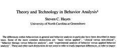 PDF - Theory and Technology in Behavior Analysis by Steven Hayes (1978)