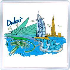 Acrylic Fridge Magnet: United Arab Emirates. Dubai