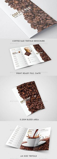 Buy Trifold Brochure - Coffee Menu by cruzonstudio on GraphicRiver. Coffee Bar Trifold Brochure Features Clean and Minimal Template High Quality Design Images are Smart Objects Easy edi. Brochure Indesign, Brochure Food, Design Brochure, Brochure Design Inspiration, Brochure Ideas, Creative Brochure, Creation Flyer, Menu Flyer, Design Presentation