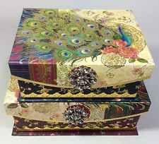 Elegant Set Of 2 New Punch Studio Peacock Keepsake Nested Storage Boxes Floral Gold  Foil