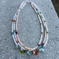 Triplet Necklace with various colors of Pearls and multi semi-precious stones