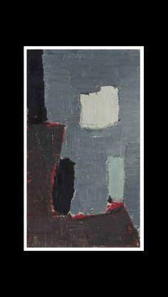 """Nicolas De Staël - """"Composition"""", 1950 - Huile sur toile - 33 x 19 cm (*)"""