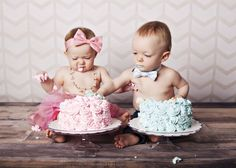 Boy and girl twins...1 year cake smash photo.