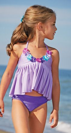 From CWDkids: Flowers & Pleats Swim Tankini.