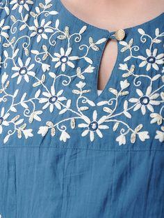 Indigo Cotton Kali Kurta with Dori Embroiderey Embroidery On Kurtis, Kurti Embroidery Design, Embroidery Neck Designs, Embroidery Suits, Diy Embroidery, Simple Kurti Designs, Kurta Designs Women, Kurta Neck Design, Neck Pattern