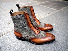 Harris tweed and tan leather brogue ankle-length boots! Strange and beautiful!