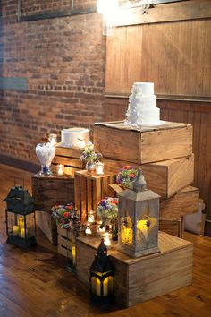 I like this for the cake stand (a smaller version). very pretty cotton warehouse wedding ceremony organic rustic atlanta Rustic Wedding Venues, Chic Wedding, Wedding Ceremony, Purple Wedding, Gold Wedding, Wedding Table, Nashville Wedding, Atlanta Wedding, Wooden Crates Wedding
