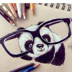 art, bear, cute, drawing, panda