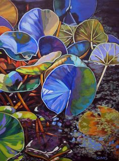 Bold Botanical Acrylic Paintings by Carol Sims. I love this. Reminder -- search out more of her art.
