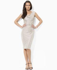 Gold. Lauren by Ralph Lauren Dress, Sleeveless Empire Waist Cowl Neck - Womens Dresses @ Macy's $124