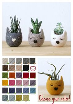 Felt succulent planter  / Kitty cat vase / Natural colors / Kawaii gift / cat lover gift /set of three - Choose your color! by theYarnKitchen on Etsy https://www.etsy.com/listing/191694449/felt-succulent-planter-kitty-cat-vase