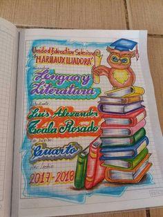 Resultado de imagen para marcar cuadernos español Notebook Cover Design, Diy Notebook Cover For School, Diary Decoration, Page Decoration, Page Borders Design, Border Design, Notebook Doodles, My Notebook, School Suplies