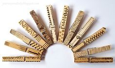 What a great way to practice different patterns and shapes when learning how to wood burn. Not only that you end up with a fun collection of pretty clothes pins. These would be great to keep on han…