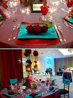 Turquoise and red tablescapes with peacock accents!