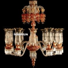 Ceiling Chandeliers 12 Arms Luster Red & Gold Triple Crown