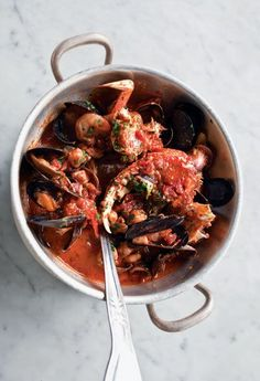 Cioppino- made this for the Italian Christmas Eve tradition of Feast of the Seven Fishes. I used white wine and clam juice instead of fish stock.