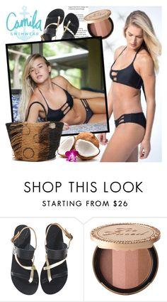 """Camila Swimwear"" by gaby-mil ❤ liked on Polyvore featuring Ancient Greek Sandals, Too Faced Cosmetics, Sensi Studio, Summer, black, swimwear, handmade and camilaswimwear"