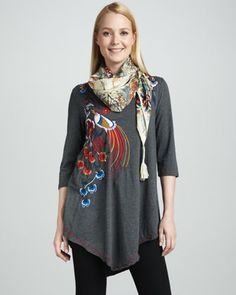 Goldie Embroidered Asymmetric Tunic & Silver Bay Vintage Scarf, Women\'s   by JWLA For Johnny Was at Neiman Marcus.