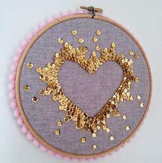 Sequin art embroidery hoop by CraftyKatDesigns on Etsy