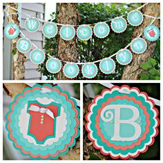 Baby Shower decor / Welcome Baby banner by Charming Touch Parties.  Coral and Aqua, fully assembled and customizable.