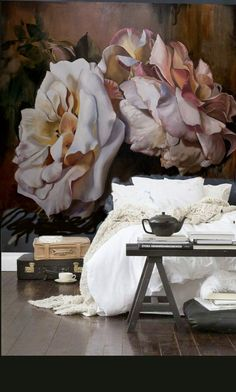 inspiration for guest room/study: a wall mural like this with pale rose or lilac coloured walls in rest of room. Diana Watson Wall paper Bed of Roses - just beautiful! Home Bedroom, Bedroom Decor, Wall Decor, Wall Paper Bedroom, Master Bedroom, Dream Bedroom, Interior And Exterior, Interior Design, Room Interior