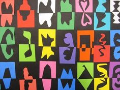 Collaborative Matisse cut-out project simetria Camping Art, Elementary Art, Matisse Art, Art, Childrens Art