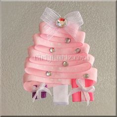 PINK Christmas Tree Ribbon Sculpture Hair Clip by GirlyKurlz, $5.97