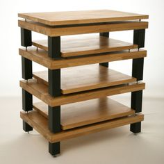 4 Tier with Isolation In Solid Oak with Black Legs