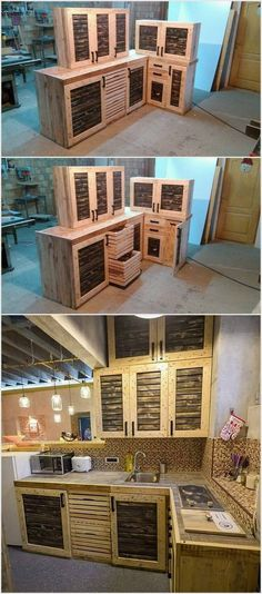 This entire kitchen has been decorated with beautiful cabinets made up from wooden pallets. It is a very cool project for those who want to beautify their kitchen. You can choose any design but it is preferable to pick the design we have shown you above as it is unique.