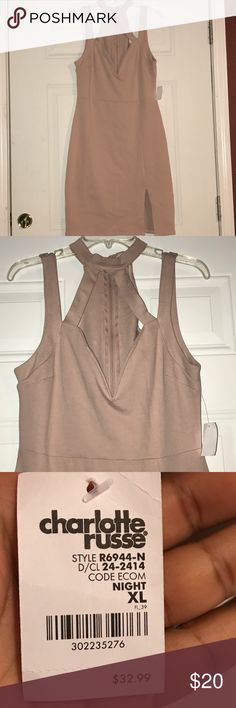 Tan Pink Charlotte Russe XL Dress NWT Looks tan in the picture but looks kind of pink up close. Charlotte Russe Dresses
