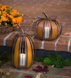 Decorative Metal Pumpkin with LED Candle | Fall decor, Halloween decor, lighted fall accents